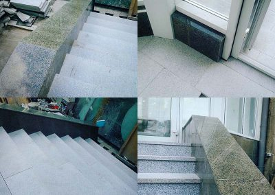 Отделка лестницы натуральным камнем