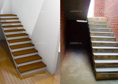 """Монолитная лестница с площадкой, п. Растущий (к/п """"Алые паруса"""")"""