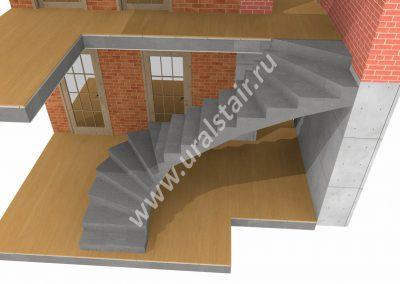 Проект монолитной лестницы в цокольный этаж
