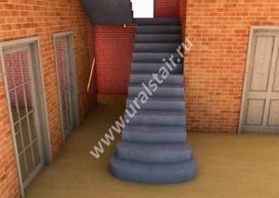 Проект прямой лестницы с площадкой и пригласительными ступенями