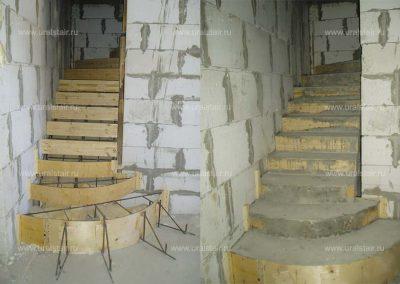Изготовление монолитной лестницы, Косулино